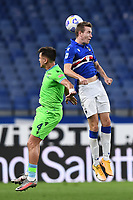 Patricio Gabarron Gil Patric of SS Lazio and Jakub Jankto of UC Sampdoria compete for the ball during the Serie A football match between UC Sampdoria and SS Lazio at stadio Marassi in Genova (Italy), October 17th, 2020. <br /> Photo Image Sport / Insidefoto