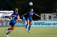 CARY, NC - SEPTEMBER 12: Debinha #10 of the NC Courage heads the ball during a game between Portland Thorns FC and North Carolina Courage at Sahlen's Stadium at WakeMed Soccer Park on September 12, 2021 in Cary, North Carolina.