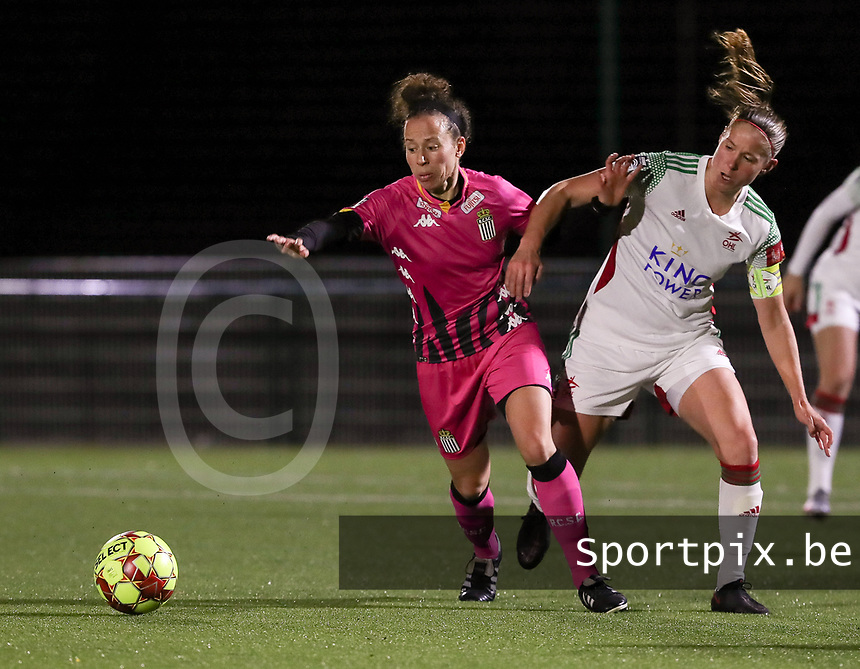 Ines Dhaou and Lenie Onzia (8 OHL) in action during a female soccer game between Oud Heverlee Leuven and Sporting de Charleroi on the seventh matchday of the 2020 - 2021 season of Belgian Womens Super League , sunday 15 th of November 2020  in Heverlee , Belgium . PHOTO SPORTPIX.BE | SPP | SEVIL OKTEM