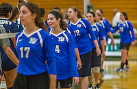 1 November 2015: Yeshiva University Maccabee Outside Hitter, Setter, and team co-Captain Shana Wolfstein (4), a Senior from Burlington, VT, congratulates the Saint Joseph College Bears after the match at SUNY Old Westbury in Old Westbury, NY. The Bears shut out the Maccabees 3-0 in NCAA women's volleyball, Skyline Conference play. Mandatory Credit: Ed Wolfstein Photo *** RAW (NEF) Image File Available ***