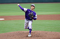 CHAPEL HILL, NC - FEBRUARY 19: Jimmy Curley #25 of High Point University throws a pitch during a game between High Point and North Carolina at Boshamer Stadium on February 19, 2020 in Chapel Hill, North Carolina.
