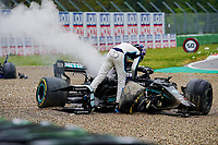 18th April 2021; Autodromo Enzo and Dino Ferrari, Imola, Italy; F1 Grand Prix of Emilia Romagna, Race Day;   George Russel GBR Williams Racing and Valtteri Bottas FIN 77 , Mercedes AMG Petronas Formula One Team  crash out of the race on an early lap and the race is stopped under red flag until cars cleared