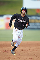 Laz Rivera (13) of the Kannapolis Intimidators hustles towards third base against the Hagerstown Suns at Kannapolis Intimidators Stadium on May 6, 2018 in Kannapolis, North Carolina. The Intimidators defeated the Suns 4-3. (Brian Westerholt/Four Seam Images)