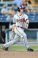 Rome Braves catcher Tyler Tewell #9 swings at a pitch during game one of a double header against the Asheville Tourists at McCormick Field on June 4, 2013 in Asheville, North Carolina. The Braves won the game 5-3. (Tony Farlow/Four Seam Images)