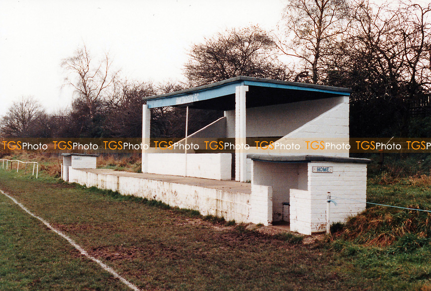 The main stand at Barkingside Football Club, Station Road, Barkingside, Essex, pictured on 14th April 1987