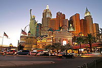 New York New York casino lighting dusk The Strip Las Vegas Nevada