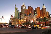 New York New York casino lighting dusk The Strip Las Vegas Nevada