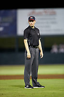 Umpire Sean Cassidy works the South Atlantic League game between the Rome Braves and the Kannapolis Intimidators at Kannapolis Intimidators Stadium on July 2, 2019 in Kannapolis, North Carolina.  The Intimidators walked-off the Braves 5-4. (Brian Westerholt/Four Seam Images)
