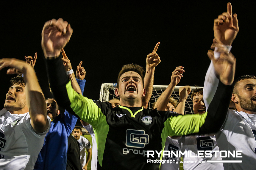 Finn Harps players celebrate at the end of the SSE Airtricity League Promotion / Relegation Play-off Final 2nd leg game between Limerick and Finn Harps on Friday 2nd November 2018 at Markets Field, Limerick. Mandatory Credit: Michael P Ryan.
