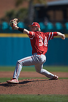 Miami Redhawks starting pitcher Kenten Egbert (34) in action against the Connecticut Huskies at Springs Brooks Stadium on March 5, 2021 in Conway, South Carolina. The Huskies defeated the Redhawks 5-0. (Brian Westerholt/Four Seam Images)