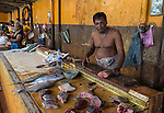 18 August 2015,Colombo, Sri Lanka: A fishmonger sells his wares at a market in Negombo on the outskirts of Colombo, Sri Lanka.     Picture by Graham Crouch