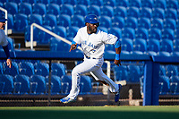 Dunedin Blue Jays center fielder Anthony Alford (43) rounding third base during a game against the Fort Myers Miracle on April 17, 2018 at Dunedin Stadium in Dunedin, Florida.  Dunedin defeated Fort Myers 5-2.  (Mike Janes/Four Seam Images)