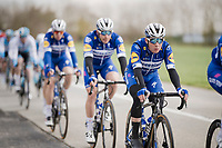 the much anticipated belgian pro debut of young cycling sensation Remco EVENEPOEL (BEL/Deceuninck-Quick Step) > escorted by his teammates <br /> <br /> 74th Nokere Koerse 2019 <br /> One day race from Deinze to Nokere / BEL (196km)<br /> <br /> ©kramon