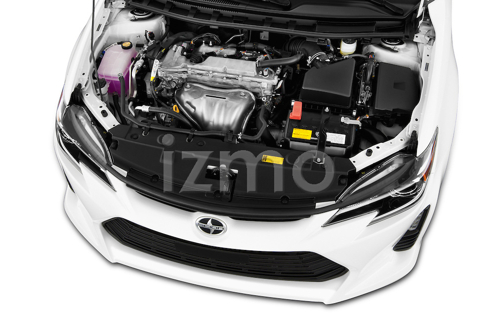 High angle engine detail of a  2014 Scion TC Coupe