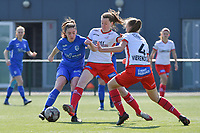 Emily Steijvers (33) of KRC Genk with Ella Vierendeels (4) of Zulte-Waregem and Summer Rogiers (8) of Zulte-Waregem  pictured during a female soccer game between SV Zulte - Waregem and KRC Genk Ladies on the 2nd matchday in play off 2 of the 2020 - 2021 season of Belgian Scooore Womens Super League , saturday 17 th of April 2021  in Zulte , Belgium . PHOTO SPORTPIX.BE | SPP | DIRK VUYLSTEKE
