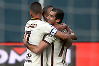 Henrikh Mkhitaryan of AS Roma celebrates with team mates after scoring a goal during the Serie A football match between Genoa CFC and AS Roma at Marassi Stadium in Genova (Italy), November 11th, 2020. Photo Gino Mancini / Insidefoto