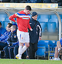 RANGERS' KYLE LAFFERTY GIES OFF INJURED EARLY IN THE FIRST HALF