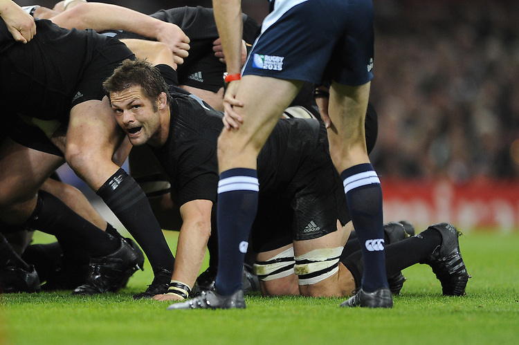 Richie McCaw of New Zealand packs down during Match 23 of the Rugby World Cup 2015 between New Zealand and Georgia - 02/10/2015 - Millennium Stadium, Cardiff<br /> Mandatory Credit: Rob Munro/Stewart Communications