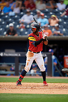 Toledo Mud Hens Willi Castro (5) bats during an International League game against the Durham Bulls on July 16, 2019 at Fifth Third Field in Toledo, Ohio.  Durham defeated Toledo 7-1.  (Mike Janes/Four Seam Images)