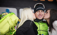 Gent-Wevelgem 2013.kisses for winner Peter Sagan (SVK) on the podium.