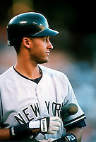 Derek Jeter of the New York Yankees during a game at Anaheim Stadium in Anaheim, California during the 1997 season.(Larry Goren/Four Seam Images)