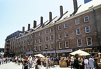 New York: Schermerhorn Row, 6 counting houses built by Peter Schermerhorn in 1811-1812. Part of South Street Seaport. Placed on National Record of Historical Places 1971. Federalist style. Restored. Photo 1985.