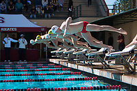 STANFORD, CA - February 17, 2018: James Murphy at Avery Aquatic Center. The Stanford Cardinal defeated the California Golden Bears 151-149 on Senior Day.