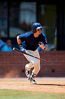 Mobile BayBears shortstop Angel Rosa (14) runs to first base during a game against the Pensacola Blue Wahoos on April 26, 2017 at Hank Aaron Stadium in Mobile, Alabama.  Pensacola defeated Mobile 5-3.  (Mike Janes/Four Seam Images)