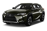 2019 Lexus UX Privilege-Line 5 Door SUV angular front stock photos of front three quarter view