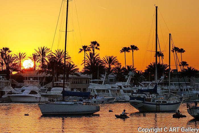 Fishing among the sailboats, Newport Harbor, CA.