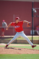 Philadelphia Phillies pitcher Tyler McKay (16) delivers a pitch during a Florida Instructional League game against the Atlanta Braves on October 5, 2018 at the Carpenter Complex in Clearwater, Florida.  (Mike Janes/Four Seam Images)