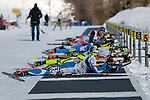 MARTELL-VAL MARTELLO, ITALY - FEBRUARY 03: Athletes at shooting during the Men 12.5 km Pursuit at the IBU Cup Biathlon 6 on February 03, 2013 in Martell-Val Martello, Italy. (Photo by Dirk Markgraf)