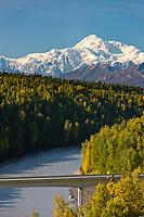 South view of Denali and the Chulitna River, Alaska.