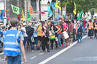 Extinction Rebellion march through central London on the tenth and final day of mass protest action, on 10 September, 2020 in London, England. <br /> Extinction Rebellion carried out a series of disruptive actions over past ten days in a campaign to support the Climate and Ecological Emergency Bill, which would speed up the UKs progress on reducing its carbon emissions, and hold a national citizens assembly on the crisis. <br /> London, England on September 10, 2020.<br /> CAP/IH<br /> ©Ivan Harris/Capital Pictures