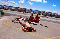 Friend sunbathing. Piran , Slovenia