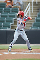 Jackson Cluff (10) of the Hagerstown Suns at bat against the Kannapolis Intimidators at Kannapolis Intimidators Stadium on August 26, 2019 in Kannapolis, North Carolina. The Suns defeated the Intimidators 4-1. (Brian Westerholt/Four Seam Images)
