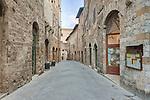Europe, Italy, Tuscany, San Gimignano, Midieval Street and Gate