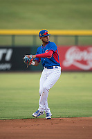 AZL Cubs 2 shortstop Luis Verdugo (18) prepares to make a throw to first base during an Arizona League game against the AZL Rangers at Sloan Park on July 7, 2018 in Mesa, Arizona. AZL Rangers defeated AZL Cubs 2 11-2. (Zachary Lucy/Four Seam Images)
