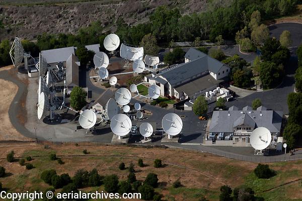 aerial photograph of the Intelsat telecommunications dish farm, City of Napa, Napa County, California
