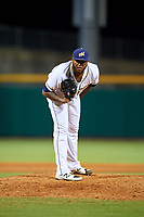 Montgomery Biscuits relief pitcher Jose Alvarado (46) looks in for the sign during a game against the Mississippi Braves on April 26, 2017 at Montgomery Riverwalk Stadium in Montgomery, Alabama.  Montgomery defeated Mississippi 5-2.  (Mike Janes/Four Seam Images)