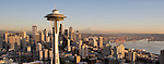 Seattle, Space Needle, Mount Rainier, Elliott Bay, Aerial, Business District, Washington State, Pacific Northwest, North America, sunset,