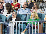 Jerry and Jessica Seinfeld enjoy watching Roger Federer and Denis Shapovalov match at the Miami Open being played at Hard Rock Stadium in Miami, Florida. ©Karla Kinne/Tennisclix 2010/CSM