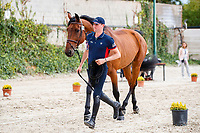 USA-Michael Hughes presents Kashmir van d'Oude Pastory during the Horse Inspection. 2021 ESP-Longines FEI Jumping Nations Cup Final. Real Club de Polo, Barcelona. Spain. Thursday 30 September 2021. Copyright Photo: Libby Law Photography