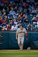 Pawtucket Red Sox shortstop Ryan Court (2) leads off during a game against the Buffalo Bisons on May 19, 2017 at Coca-Cola Field in Buffalo, New York.  Buffalo defeated Pawtucket 7-5 in thirteen innings.  (Mike Janes/Four Seam Images)