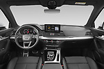 Stock photo of straight dashboard view of 2021 Audi Q5-Sportback S-Line 5 Door SUV Dashboard