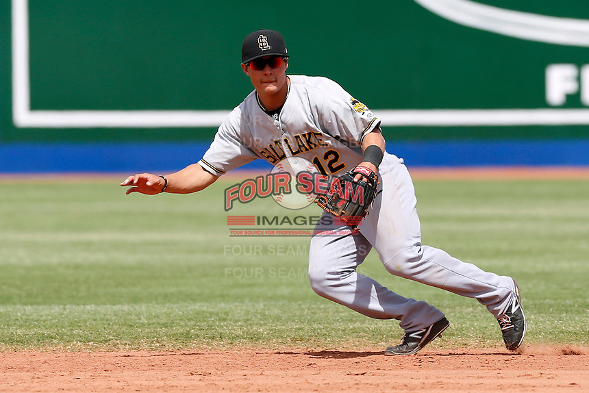 Tommy Field #12 of the Salt Lake Bees during a game against the Las Vegas 51s at Cashman Field on May 27, 2013 in Las Vegas, Nevada. Las Vegas defeated Salt Lake, 9-7. (Larry Goren/Four Seam Images)