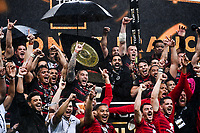 Yohann HUGET of Stade Toulousain lift the trophy during the Top 14 Final match between Toulouse and La Rochelle at Stade de France on June 25, 2021 in Paris, France. (Photo by Anthony Dibon/Icon Sport) - Yoann HUGET - Stade de France - Paris (France)