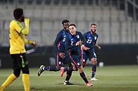 WIENER NEUSTADT, AUSTRIA - MARCH 25: Sergino Dest #2 of the United States celebrates scoring during a game between Jamaica and USMNT at Stadion Wiener Neustadt on March 25, 2021 in Wiener Neustadt, Austria.
