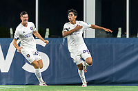 FOXBOROUGH, MA - AUGUST 7: Kenji Tanaka De Paula #66 of Orlando City B celebrates his goal with teammates during a game between Orlando City B and New England Revolution II at Gillette Stadium on August 7, 2020 in Foxborough, Massachusetts.