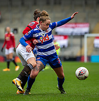 7th February 2021; Leigh Sports Village, Lancashire, England; Women's English Super League, Manchester United Women versus Reading Women; Rachel Rowe of Reading under pressure